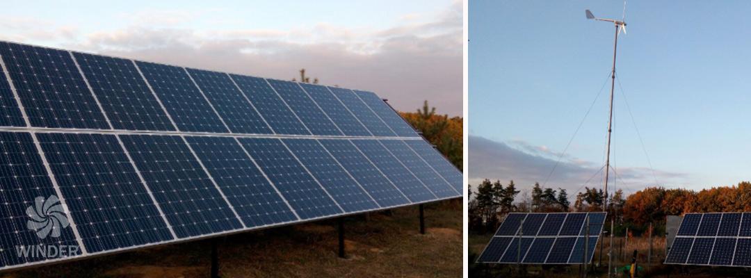 Автономная система с ветрогенератором Т12 1,2 кВт и солнечными панелями